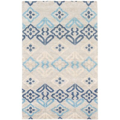 Peterson Sari Silk Hand-Knotted Light Gray Area Rug Rug Size: 51 x 711