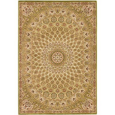 Casen Emerald green/Brown Area Rug Rug Size: 53 x 77