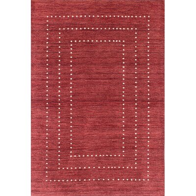 Moriah Hand-Knotted Dark Burgundy Area Rug Rug Size: 4 x 511