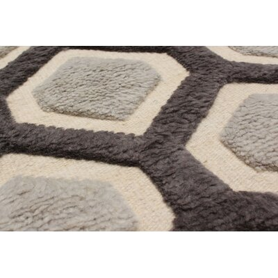 One-of-a-Kind Almonta Hand-Knotted Dark Gray/Light Gray Area Rug