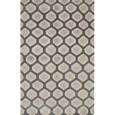 Almonta Hand-Knotted Dark Gray/Light Gray Area Rug