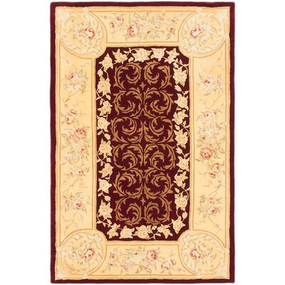 Inny Hand-Tufted Dark Red/Light Gold Area Rug