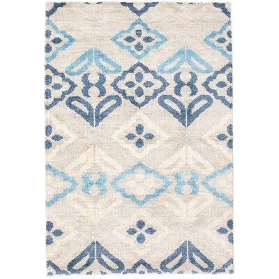 Peterson Sari Silk Hand-Knotted Light Gray Area Rug Rug Size: 4 x 6