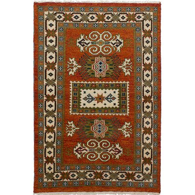 One-of-a-Kind Berkshire Hand-Knotted Wool Green/Red Area Rug
