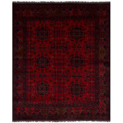 Bilberry Traditional Hand-Knotted Wool Dark Red Indoor Area Rug