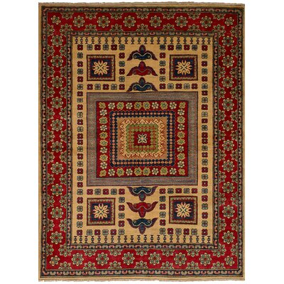One-of-a-Kind Bernard Hand-Knotted Wool Cream/Red Area Rug