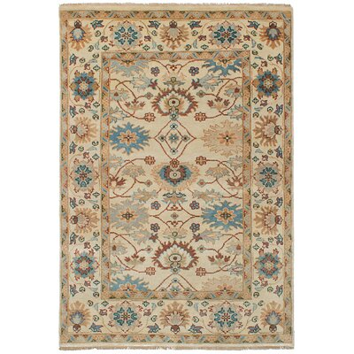Bassford Wool Hand-Knotted Cream Area Rug Rug Size: 52 x 81