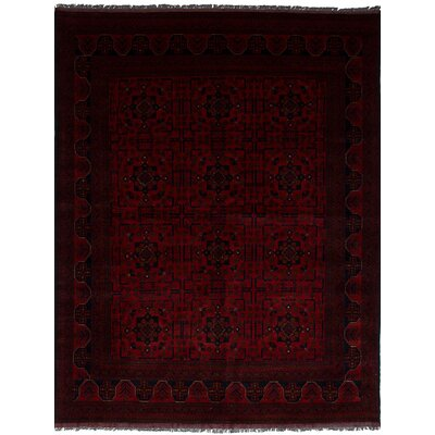 Bilberry Hand-Knotted Wool Dark Red Area Rug