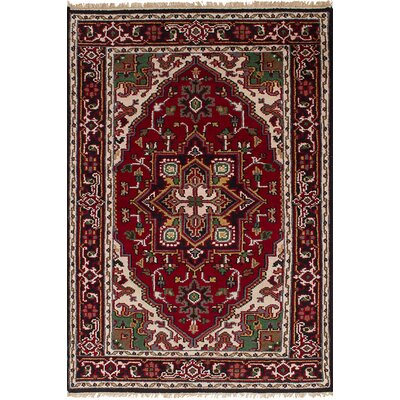 Bertram Hand-Knotted Wool Red Area Rug