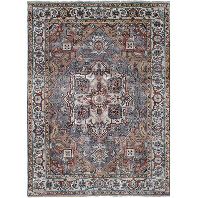 Beverly Hand-Knotted Wool Dark Blue Area Rug Rug Size: 61 x 87