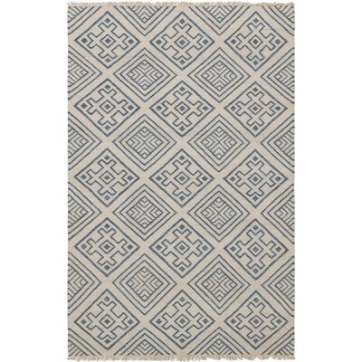 Garcia Hand-Woven Wool Cream/Navy Blue Area Rug