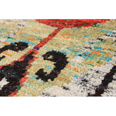 Bert Transitional Hand-Knotted Silk Light Green/Red Area Rug