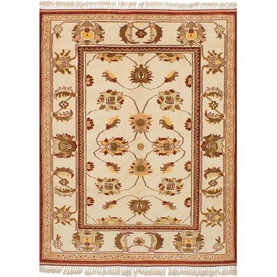 One-of-a-Kind Biddlesden Hand-Knotted Wool Cream Area Rug
