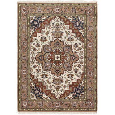 One-of-a-Kind Bertram Hand-Knotted Wool Cream/Tan Area Rug