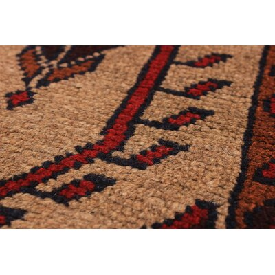 Bilbo Hand-Knotted Wool Light Khaki/Red Area Rug