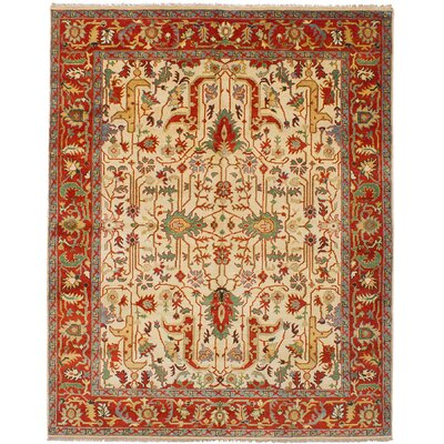 One-of-a-Kind Charleena Hand-Knotted Wool Cream/Dark Copper Arae Rug
