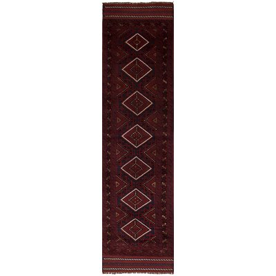 One-of-a-Kind Bilbania Hand-Knotted Wool Dark Red Indoor Area Rug