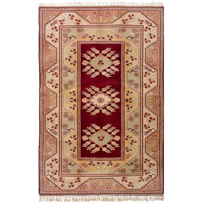 Biddlesden Hand-Knotted Wool Red Area Rug