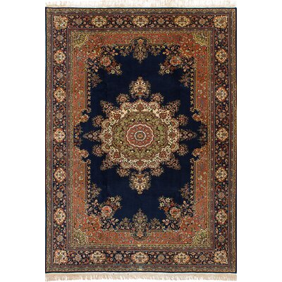 One-of-a-Kind Billa Hand-Knotted Wool Dark Navy Area Rug