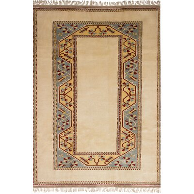 Biddlesden Hand-Knotted Wool Cream Area Rug