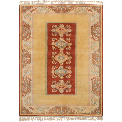 Biddlesden Hand-Knotted Wool Dark Copper/Light Gold Area Rug