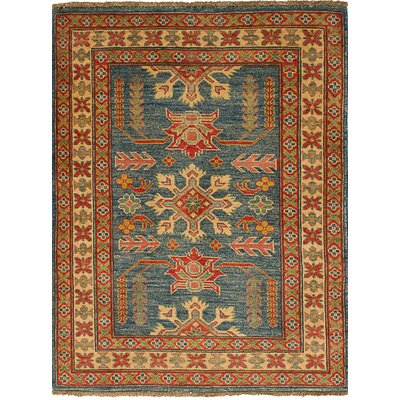 One-of-a-Kind Bernard Traditional Hand-Knotted Wool Navy Blue Area Rug