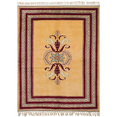 One-of-a-Kind Bettina Hand-Knotted Wool Light Gold/Red Area Rug