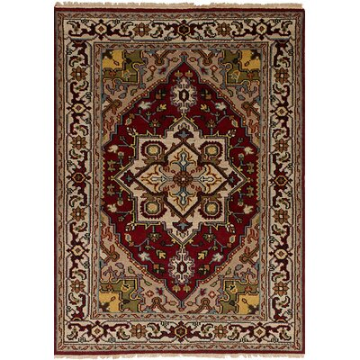 One-of-a-Kind Bertram Hand-Knotted Wool Red/Tan Area Rug