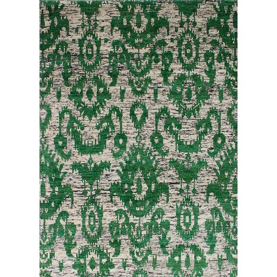 One-of-a-Kind Bert Hand-Knotted Silk Green Area Rug