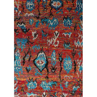 Bert Hand-Knotted Silk Red Area Rug