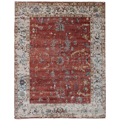 Beverly Hand-Knotted Silk Gray/Red Area Rug