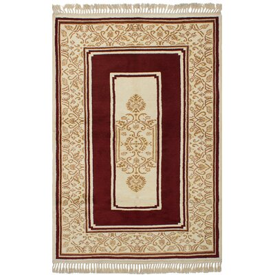 Bettina Hand-Knotted Wool Cream/Dark Red Area Rug