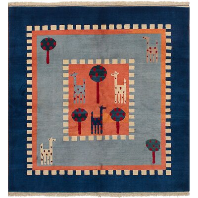 Bettina Hand-Knotted Wool Copper/Light Blue Area Rug