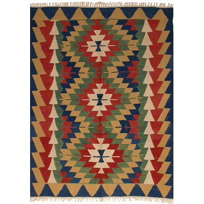 Barnett Hand-Woven Wool Red/Tan Area Rug