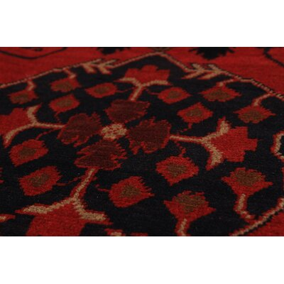 One-of-a-Kind Bilberry Traditional Hand-Knotted Wool Red Area Rug