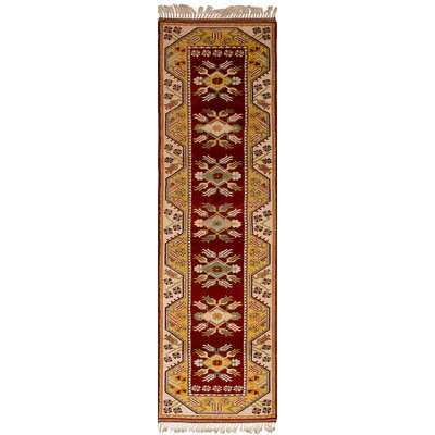 Biddlesden Hand-Knotted Wool Dark Red Area Rug