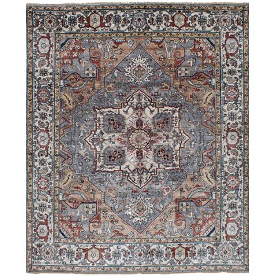One-of-a-Kind Beverly Hand-Knotted Wool Dark Blue Area Rug Rug Size: 81 x 99