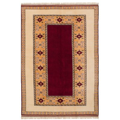 Biddlesden Hand-Knotted Wool Dark Red/Tan Area Rug