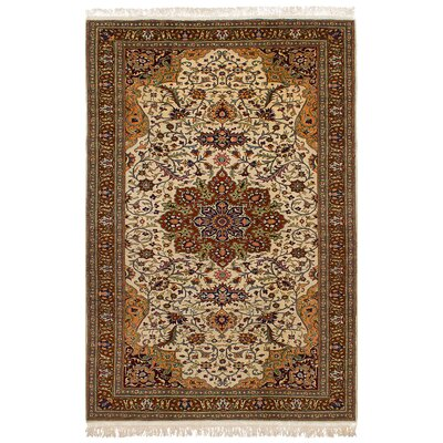 One-of-a-Kind Amberley Hand-Knotted Wool Cream Area Rug