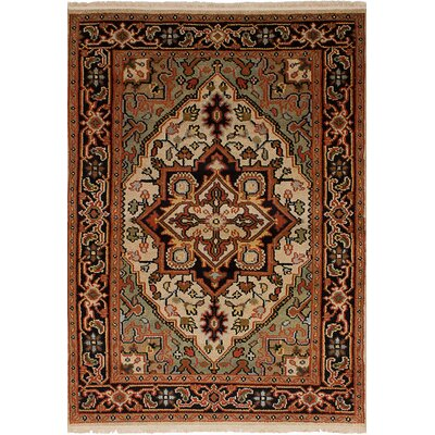 Bertram Hand-Knotted Wool Dark Copper/Light Green Area Rug