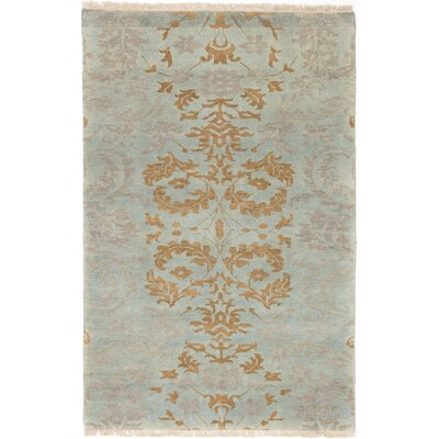 Amberboi Hand-Knotted Wool Gray/Light Blue Area Rug