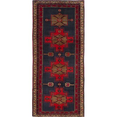 Bilboroughs Hand-Knotted Wool Dark Navy/Light Red Area Rug