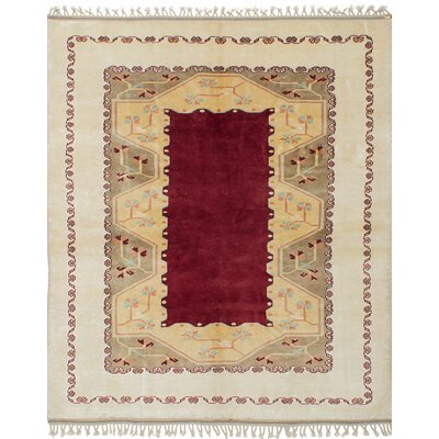 Bettina Traditional Hand-Knotted Wool Cream/Dark Red Area Rug