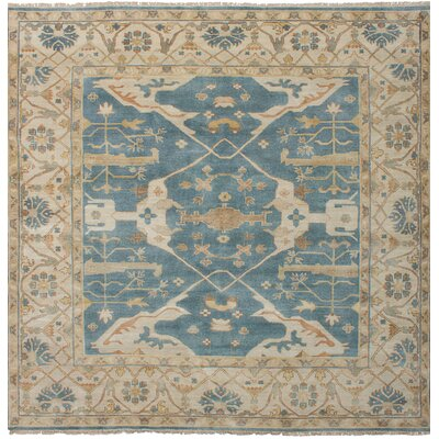 Biddlesden Hand-Knotted Wool Blue Area Rug