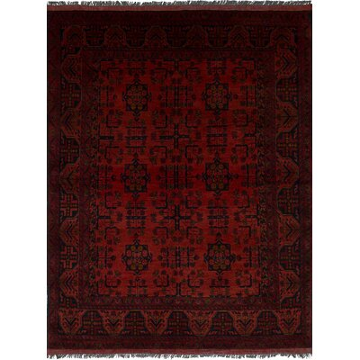 Bilberry Hand-Knotted Floral Wool Dark Red Area Rug