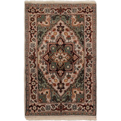 Bertram Hand-Knotted Wool Cream/Light Olive Green Area Rug