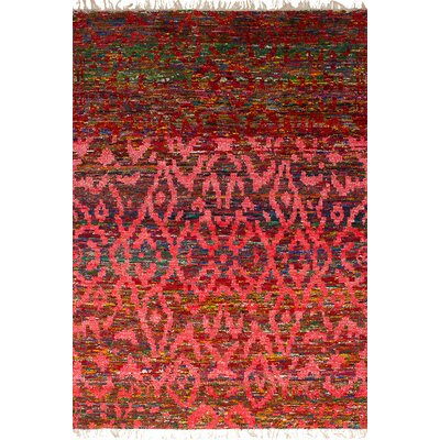Dennet Hand-Knotted Silk Red Area Rug