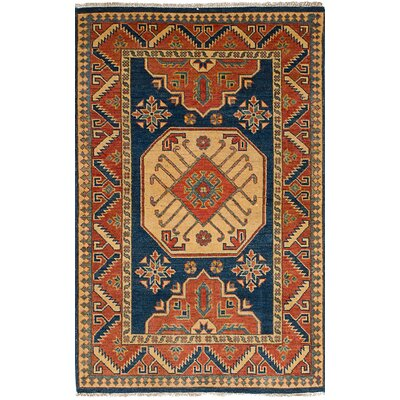 One-of-a-Kind Bernard Transitional Hand-Knotted Wool Navy Blue Area Rug