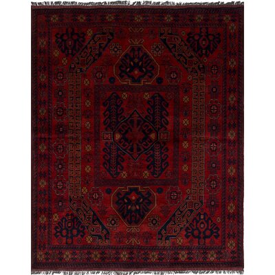 One-of-a-Kind Bilberry Traditional Hand-Knotted Wool Dark Red Area Rug