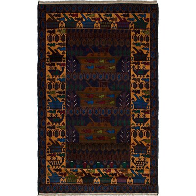 One-of-a-Kind Barrera Hand-Knotted Wool Dark Navy Blue Area Rug